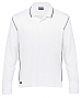White and Navy Long Sleeve Polo with logo service