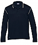 Navy and White Long Sleeve Polo with logo service