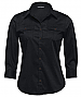 Black shirt with metal look buttons, roll up sleeve tab
