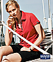 Ladies Red Cotton Polo with fancy ribbon in the neckline