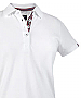 White Cotton Polo with Navy & Red ribbon in the neckline