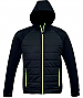 Jacket with Puffer Front and a Hood-Black/Green