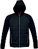 Jacket with Puffer Front and a Hood-Black/Red