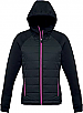 Jacket with Puffer Front and a Hood-Black/Magenta Pink