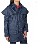 Pioneer Short Coat #TCP1714041 With Corporate Logo Service. Thomas Cook Boot and Clothing, Waterproof 3000mm, Sizes XXS, XS, SM-3XL. Navy. Double storm cuffs, mesh air vent, rivets at stress points, double storm front placket flaps, concealed hood, inner