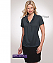 Inspect a sample of professional Pippa Charcoal Ladies Uniform Tops #2222 Short Sleeve available in 10 Colours. The lovely fabric is 100% polyester Matte Jersey with Natural Stretch. Wonderful for easy care, minimal or no ironing. Colours include red, Aqu