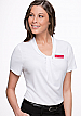 Inspect a sample of professional Pippa White Ladies Uniform Tops #2222 Short Sleeve available in 10 Colours. The lovely fabric is 100% polyester Matte Jersey with Natural Stretch. Wonderful for easy care, minimal or no ironing. Colours include red, Aqua,