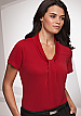 Inspect a sample of professional Pippa Red Ladies Uniform Tops #2222 Short Sleeve available in 10 Colours. The lovely fabric is 100% polyester Matte Jersey with Natural Stretch. Wonderful for easy care, minimal or no ironing. Colours include red, Aqua, Na