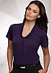 Inspect a sample of professional Pippa Grape Ladies Uniform Tops #2222 Short Sleeve available in 10 Colours. The lovely fabric is 100% polyester Matte Jersey with Natural Stretch. Wonderful for easy care, minimal or no ironing. Colours include red, Aqua,