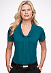 Inspect a sample of professional Pippa Jade Ladies Uniform Tops #2222 Short Sleeve available in 10 Colours. The lovely fabric is 100% polyester Matte Jersey with Natural Stretch. Wonderful for easy care, minimal or no ironing. Colours include red, Aqua, N