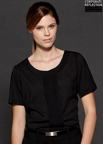 Black Womens Uniform Top, Corporate