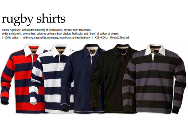 Harvest Sportswear Lakeport Rugby's Colour Card