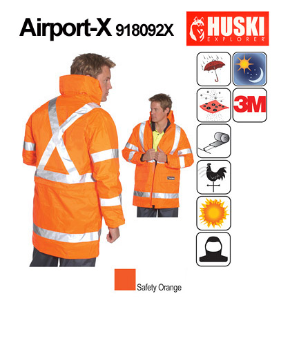 Huski Airport X Waterproof Hi Vis Jacket-Australian Standards