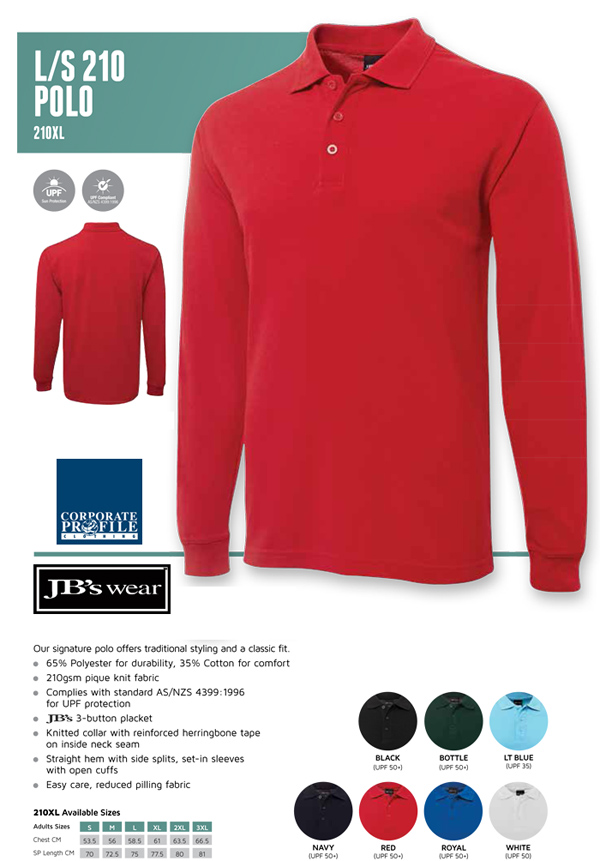 JB's Wear Long Sleeve Plain Colour Polo Shirts featuring 210gsm Pique Knit Fabric