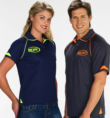 Fusion Work Polo Shirts- Navy & Grey with Fluro Trims