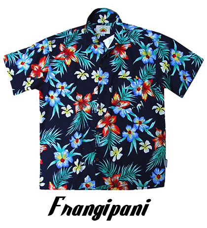 Hawaiian Shirts- Frangipani on a Navy background