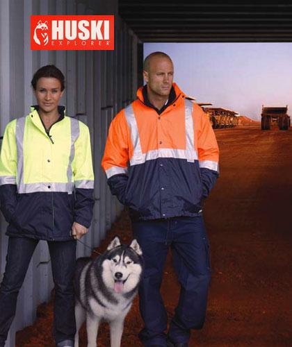 Womens Australian Standards-Hi Vis Waterproof/Breathable Jacket by Huski