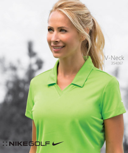 Nike Golf: Womens V Neck Polo #354067 with Nike Trademark Swoosh On Sleeve.