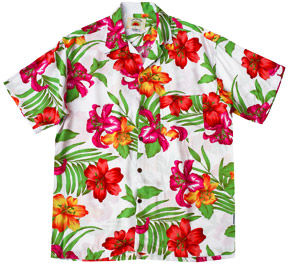 White Raro Hawaiian Shirts