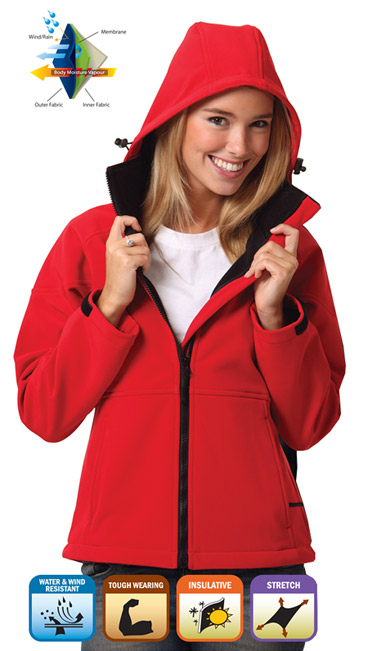 Red Soft Shell Jacket with Hood