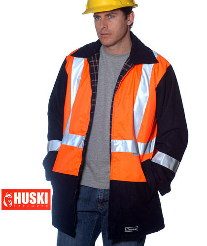 Huski Work Jacket: High Visibility 3M Reflective Tape and Long Length