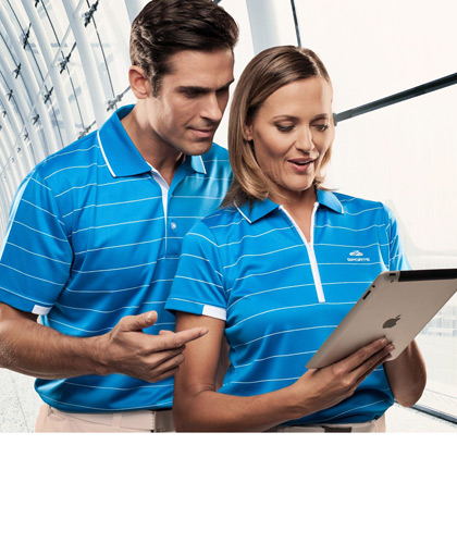 Sporte Leisure Matching Shirts-Harbour Blue with White Stripe
