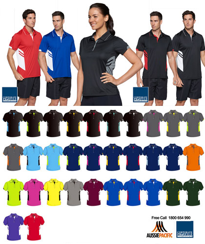 Aussie Pacific Tasman Sport Polo With Neon Colours. 32 Team Colours