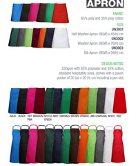 Hospitality Aprons in 13 colours x 3 Styles