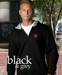 Black and Grey Hoodies Athletic Styled Hoodies with Zip Front
