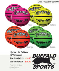 Buffalo Basketballs Hyper Lite Cellular Balls in High Visibility Colours