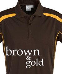 Brown and Gold Sports Polo Shirts
