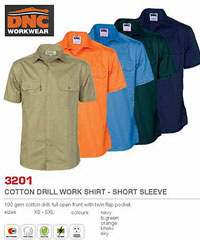 DNC Workwear: 3201 Cotton Drill Work Shirts-Short Sleeve