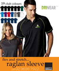 Endeavour Polo Shirts with Raglan Sleeve Design and Piping