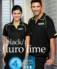Fusion Work Polo Shirt- Black with Fluro Lime