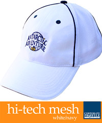 Mesh Back Sports Cap -White/Navy