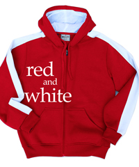 Red and White Hoodies with Contrast Sleeve Panels and Full Zip Front