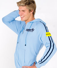 Sky Blue and Navy Hoodies with Sporty SLEEVE STRIPES