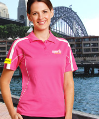 Pink Polo Shirts with sports mesh underarm & panels