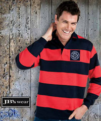 JB's Corporate Rugby Tops- Striped Navy and Red