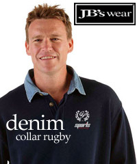 Navy Rugby Top with a Denim Collar