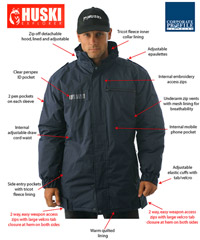 Huski Security Jackets: Waterproof, breathable padded security jacket