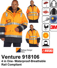 Huski Venture Railway Compliant Waterproof Hi Vis Jacket-Australian Standards