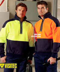 Visitec Hi Vis Half Zip Sweatshirt with unique Reflective Piping