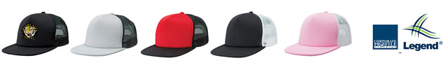 Flat Peak Trucker Caps #4384 in Team Colours with Logo Service